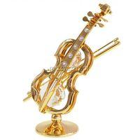 Zebra Music Miniatura skrzypiec, pozłacana, kryształy Swarovski