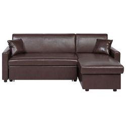 Sofa narożna rozkładana ze schowkiem lewostronna brązowa ogna marki Beliani