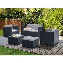 Salon ogrodowy SOPHIE II z technorattanu: 2-osobowa sofa, 2 fotele, puf i ława – kolor antracytowy
