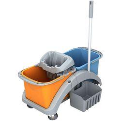 Splast Wózek do sprzątania dwuwiadrowy 2 x 20 litrów z wyciskarką do mopa, koszykiem na akcesoria i kijem ts20017 (5907781423354)
