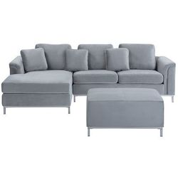 Sofa prawostronna welurowa z otomaną jasnoszara OSLO (4260624119281)