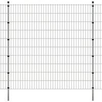 vidaXL Panele ogrodzeniowe 2D z słupkami - 2008x2030 mm 46 m Srebrne (8718475985280)
