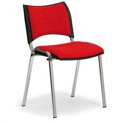 Krzesło konferencyjne smart - chromowane nogi, bez podłokietników, czerwony marki B2b partner