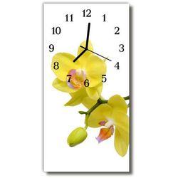 Zegar Szklany Pionowy Kwiaty Storczyk orchidea żółty