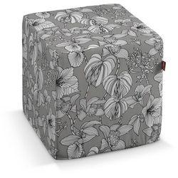 Dekoria pufa kostka twarda, białe kwiaty na szarym tle, 40x40x40 cm, brooklyn