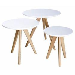 Zestaw stolików MILANOS TRIO - biały MDF, nogi dębowe, KH-0190