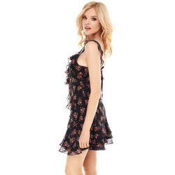 Sukienka Monaco czarna w kwiaty, kolor czarny