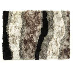 Dywan shaggy ECUME - poliestrowy, tuftowany ręcznie - Brązowoszary, biały i czarny - 140x200 cm