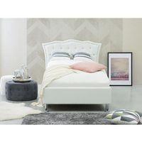 Łóżko białe - 90x200 cm - skórzane - ze schowkiem - stelaż - METZ