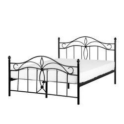 Łóżko czarne - 160 x 200 cm - metalowe - ze stelażem - ANTLIA