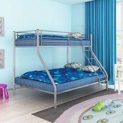 Vidaxl Łóżko piętrowe dla dzieci z szarą metalową ramą 200x140/200x90
