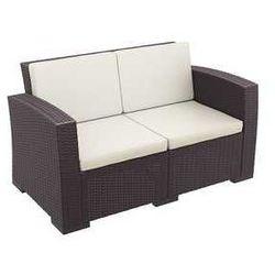 Dwuosobowa sofa ogrodowa z technorattanu Monaco Siesta brązowa