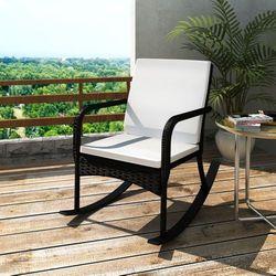 vidaXL Fotel bujany ogrodowy, rattan PE, czarny (8718475851400)