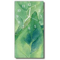 Zegar Szklany Pionowy Natura Liście zielony, kolor zielony