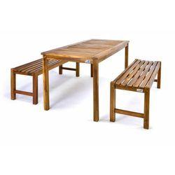 Stół piknikowy z ławkami Garth z drewna akacjowego