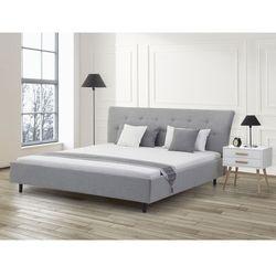 Łóżko jasnoszare - 180x200 - łóżko tapicerowane - SAVERNE, Beliani