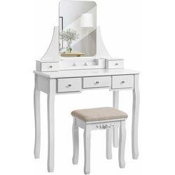 Toaletka kosmetyczna, obracane lustro, stołek, biała, 138 cm