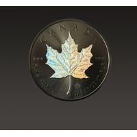 Kanadyjski Liść Klonowy 1 uncja srebra platerowana rutenem z hologramem