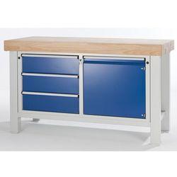 Stół warsztatowy do dużych obciążeń,szer. blatu 1500 mm, z 3 szufladami i 1 drzwiczkami skrzydłowymi ma