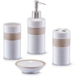 Ceramiczny zestaw akcesoriów łazienkowych BEIGE - 4 sztuki w komplecie, ZELLER (4003368182605)