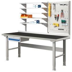 Stół warsztatowy SOLID 500, z wyposażeniem, 2000x800 mm, guma