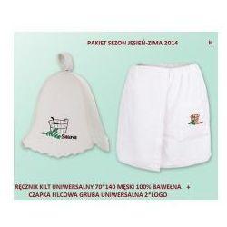 Pakiet logo - Kilt Ręcznik 50*140cm 100% Bawełna + Czapka biała do sauny gruba H