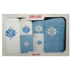 Komplet ręczników 6 szt. niebieski/biały marki Ziplar