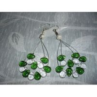 K-00077 Kolczyki z zielonymi i przezroczystymi łezkami, 04-06-12