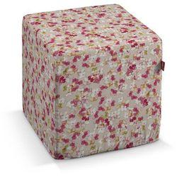 Dekoria  pufa kostka twarda, malinowo-zielone kwiatki na lnianym tle, 40x40x40 cm, londres