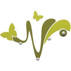 Calleadesign Wieszak ścienny dekoracyjny butterfly  oliwkowo-zielony