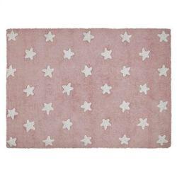 Lorena canals Dywan do prania w pralce pink stars white, kategoria: dywany dla dzieci