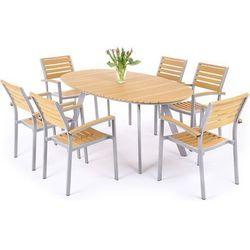 Meble ogrodowe  411508 lorenzo aluminiowe srebrno-teak, marki Home&garden