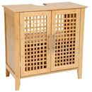 Bambusowa szafka łazienkowa BAMBOU pod umywalkę - 2 poziomowa, zamykana (3560237242408)