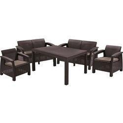 Allibert Meble ogrodowe curver corfu fiesta set zestaw:dwie sofy,dwa fotele,stolik brązowy - szaro-beżowy (3253929123061)