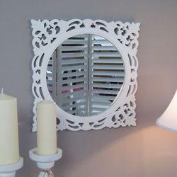 Design by impresje24 Lustro z serii romantic, drewniana, ażurowa rama, biel.
