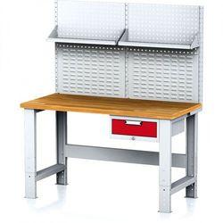 Stół warsztatowy MECHANIC z nadstawką i półką, 1500x700x700-1055 mm, nogi regulowane, 1x 1 szufladowy kontener, szary/czerwony