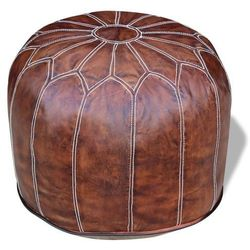 Vidaxl okrągły, skórzany puf, ciemny brąz 48x48x43 cm
