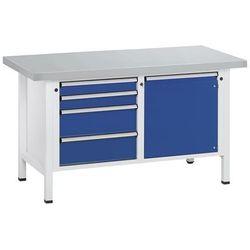 Anke werkbänke - anton kessel Stół warsztatowy, stabilny, 4 szuflady, drzwi 540 mm, okładzina z blachy sta