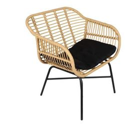 Fotel ogrodowy nosara z technorattanu - czarne siedzisko marki Vente-unique