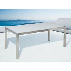 Stół ogrodowy stal nierdzewna/szkło hartowane biały 180 x 90 cm GROSSETO, kolor szary