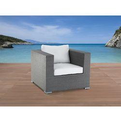 Ogrodowy fotel z rattanu, szary z podłokietnikami i poduchami - maestro od producenta Beliani