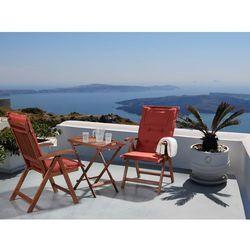 Meble ogrodowe - balkonowe - drewniane - stół z 2 krzesłami z 2 ceglastymi poduchami - TOSCANA (7081454895674)