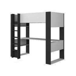 Łóżko antresola NOAH z biurkiem i półkami – 90 × 200 cm - Biały i antracytowy