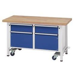 Stół warsztatowy do montażu,ruchomy, z 2 szufladami i 2 szafkami marki Anke werkbänke - anton kessel