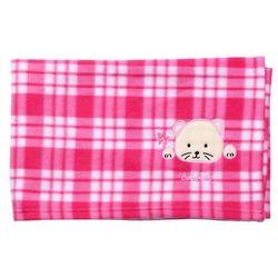 Babyono Kocyk polarowy - różowa kratka - różowa kratka