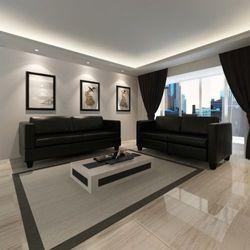 Vidaxl  skórzana sofa 3+2 czarny