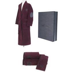 Męski szlafrok luxury + ręczniki + pudełko m + ręczniki + pudełko bordowy marki Soft cotton