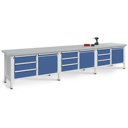 Stół warsztatowy, bardzo szeroki, 3 drzwi, 9 szuflad z pełnym wysunięciem, blat