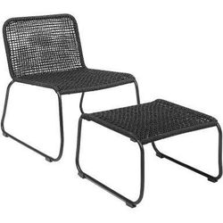 Fotel ogrodowy z podnóżkiem, czarny - Bloomingville, 50255229