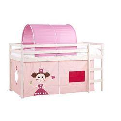 Łóżko na podwyższeniu kate z różowymi zasłonkami i namiotem - 90 × 190 cm - lite drewno sosnowe - bielone marki Vente-unique